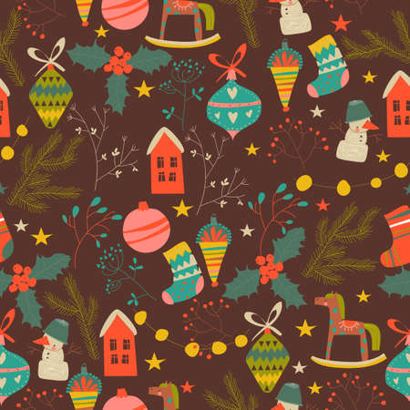 Seamless pattern with Christmas decoration, firtwigs and plants
