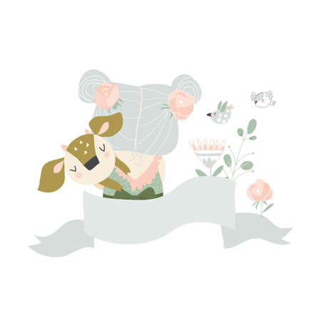 Beautiful cartoon girl with cute deer.Best friends