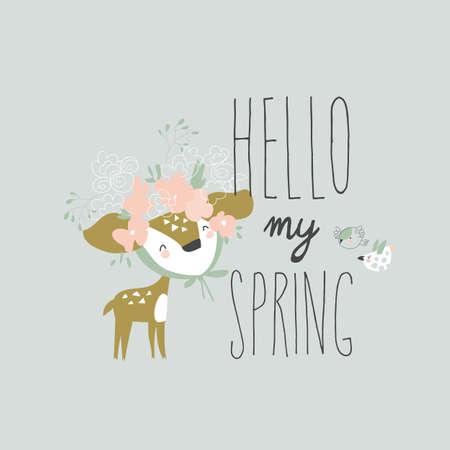 Cartoon little deer with wreath meeting spring Illusztráció