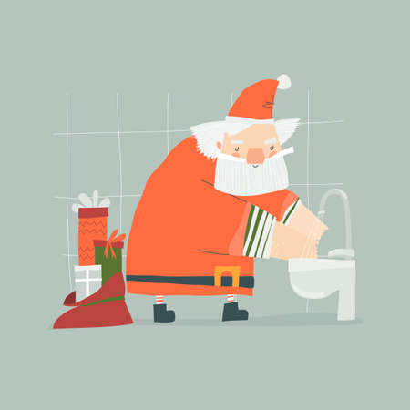 Cartoon funny Christmas Santa Claus Washes Hands