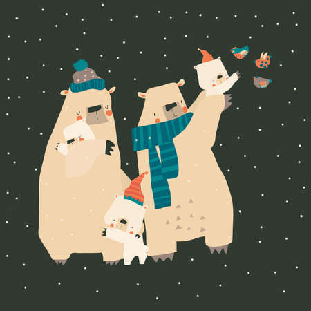 Cute cartoon bears family hugging their cubs