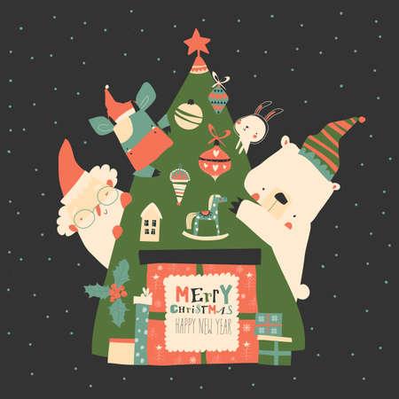 Cute animals sitting around Christmas tree with Santa Claus