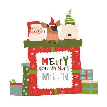 Christmas presents with Santa,bull and polar bear