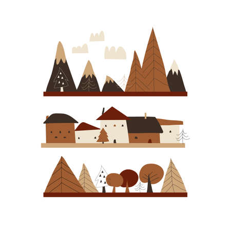 Cartoon autumn landscape with houses,mountains and trees