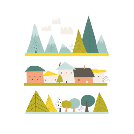 Cartoon summer landscape with houses,mountains and trees
