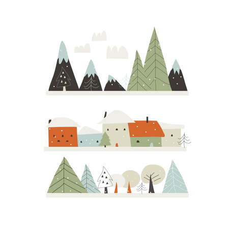 Cartoon winter landscape with houses,mountains and trees