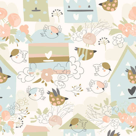 Spring seamless pattern with flowers,birds and birdhouses