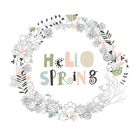 Cartoon spring floral wreath on white background
