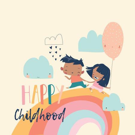 Happy children running on rainbow with balloon