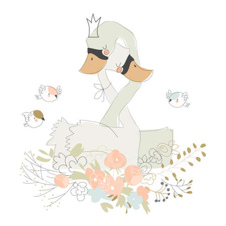 Cute cartoon couple of swans hugging on flowers