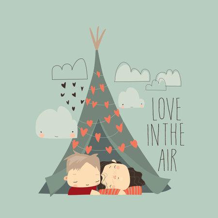 Cartoon couple in love hugging in tent