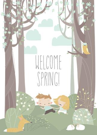 Cartoon happy children run in spring blossom forest
