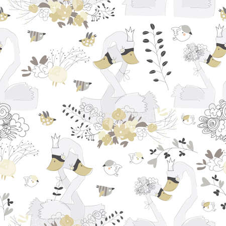 Seamless pattern with couple of swans hugging in flowers 矢量图像
