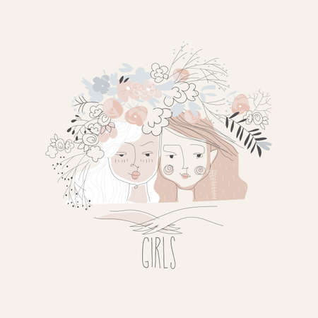 Cartoon illustration with two beautiful girls in flowers
