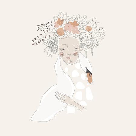 Cute girl hugging swan. Cartoon romantic illustration