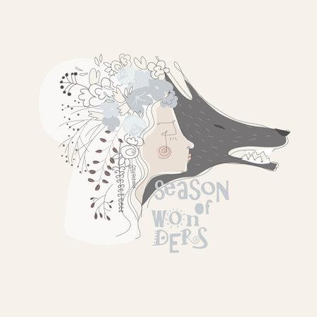 Cute girl with gray wolf. Cartoon illustration
