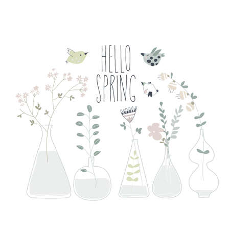 Cartoon spring flowers in different bottles. Hello spring
