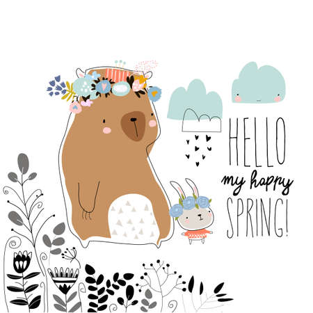 Cute bear with little bunny staying in spring plants 矢量图像