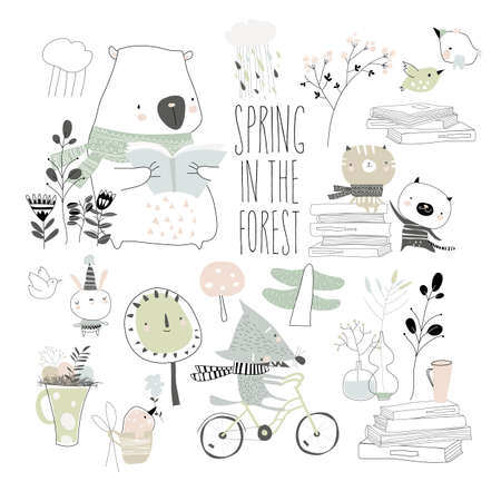 Set of cute animals with spring elements. Hello spring 矢量图像