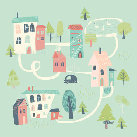 Cute little town in cartoon style. Hello spring
