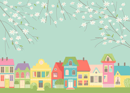 Cute cartoon little town with spring blossom branches
