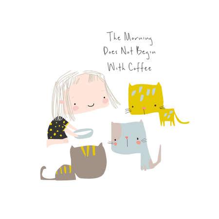 Illustration of cute girl feeding funny kittens on white background