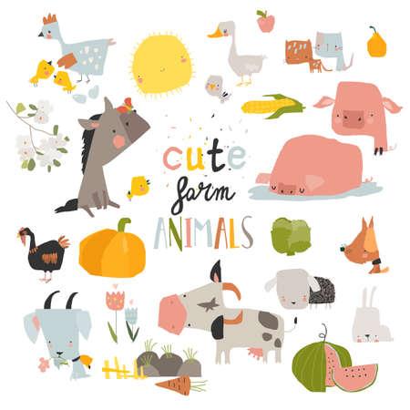 Cute farm animals set on white background