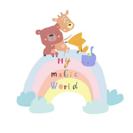 Happy Animals sitting on Rainbow on white background Illustration