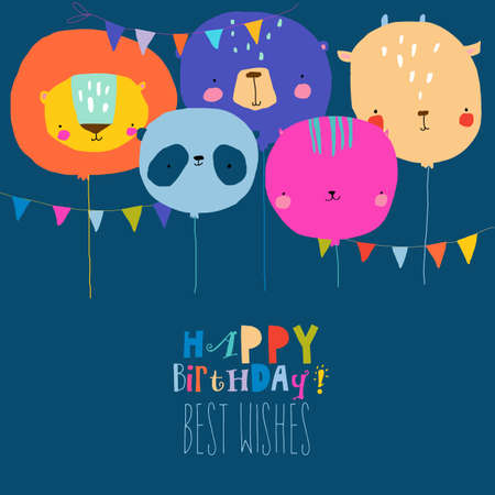 Birthday Card with Cute Balloon Faces Animals Illustration
