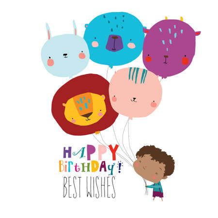 Birthday Card with Cute Boy holding funny Balloons Illustration