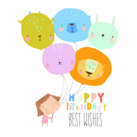 Birthday Card with Cute Girl holding funny Balloons