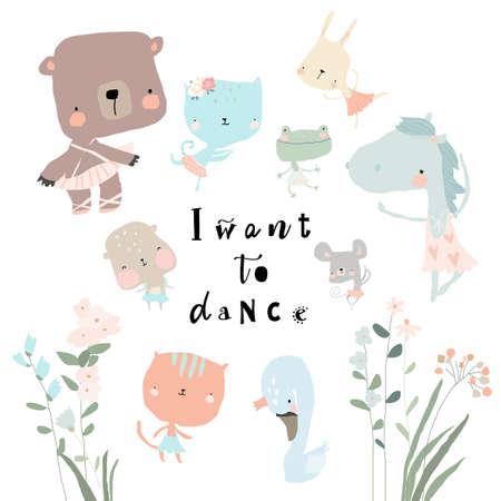 Set of cute funny little animals ballerinas Illustration