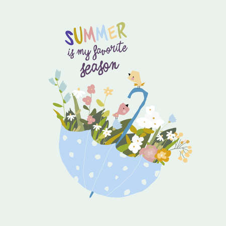 Blue umbrella with flowers and birds. Hello Summer Illustration