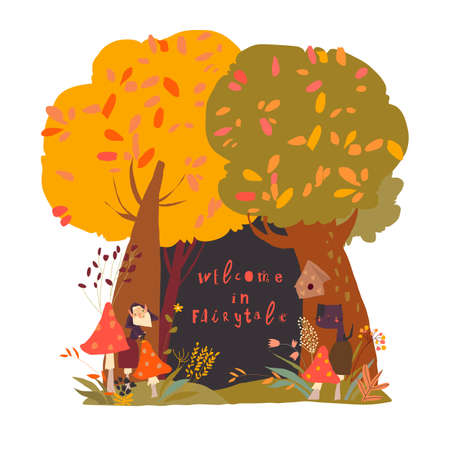 A beautiful woodland autumn scene with trees and grass and space in the centre