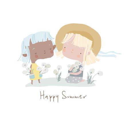Cute cartoon girls holding Dandelions. Hello summer Illustration