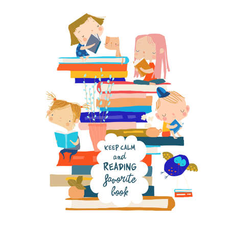 Cute children sitting on stack of book