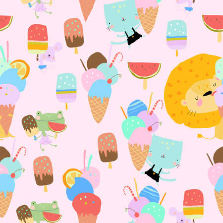Seamless Pattern with Happy Animals eating Ice Cream