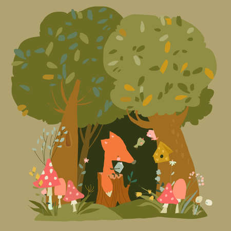 Little Red Fox reading Book in Summer Forest