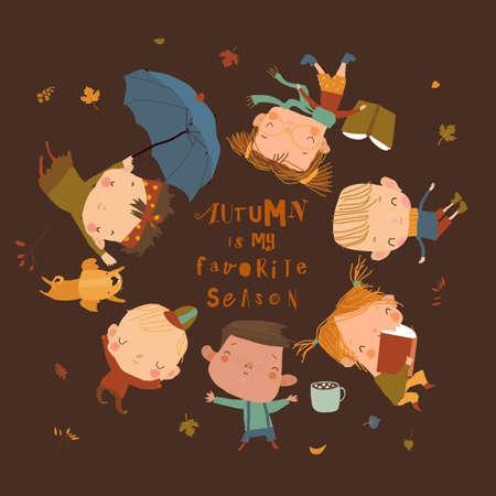 Happy Children lying on Grass. Hello Autumn Illustration