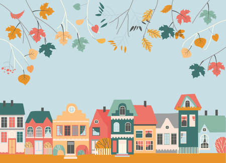 Cute Cartoon Little Town with Autumn Leaves Branches Illustration