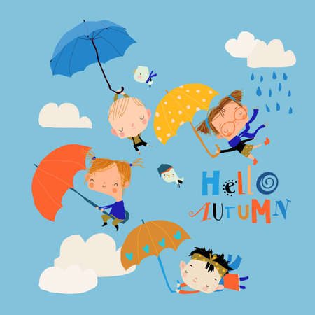 Happy Kids flying with Umbrellas in the Sky
