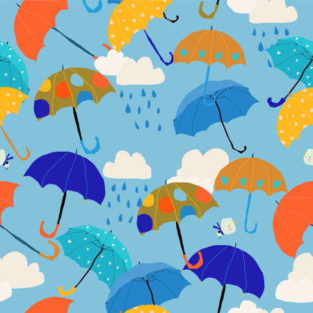 Seamless Pattern with Colorful Umbrellas in the Sky