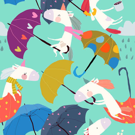 Seamless Pattern with Funny Unicorns flying with Umbrellas in the Sky