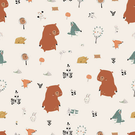 Seamless Pattern with Cute Animals in Autumn Forest