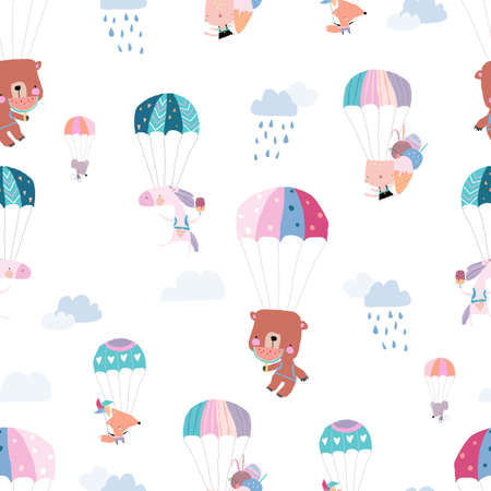Seamless Pattern with Happy Animals flying with Colorful Parachutes in the Sky Illustration