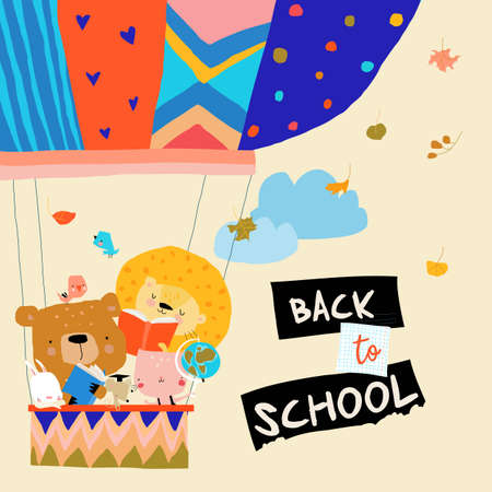 Happy Cartoon Animals flying to the School by Air Balloon. Vector Illustration