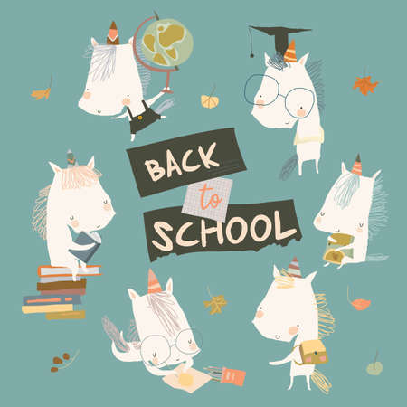 Happy Cartoon Unicorns going Back to School Illustration