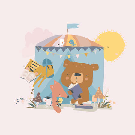 Cute Cartoon Animals reading Book in Tent Illustration