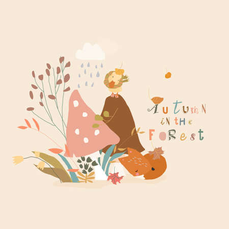 Cartoon Autumn Plants with Little Fox and Duckling