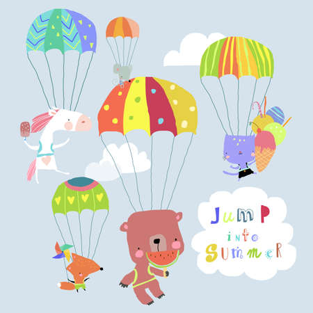 Happy Animals flying with Colorful Parachutes in the Sky Illustration